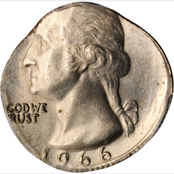 1966 Washington Quarter--Struck on a Copper-Nickel Clad Dime