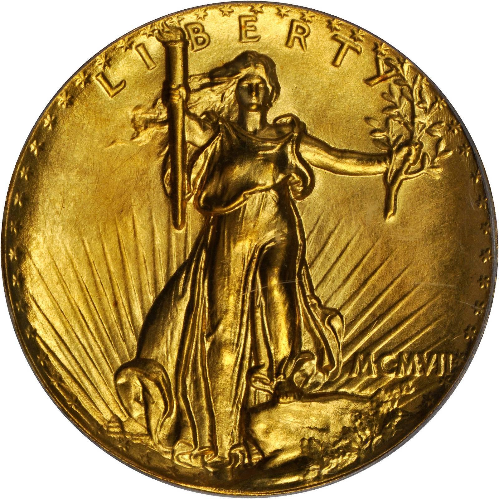 MCMVII (1907) Saint-Gaudens Double Eagle  Ultra High Relief