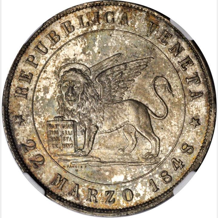 Italy Venice 5 Lire 1848 V Ngc Ms