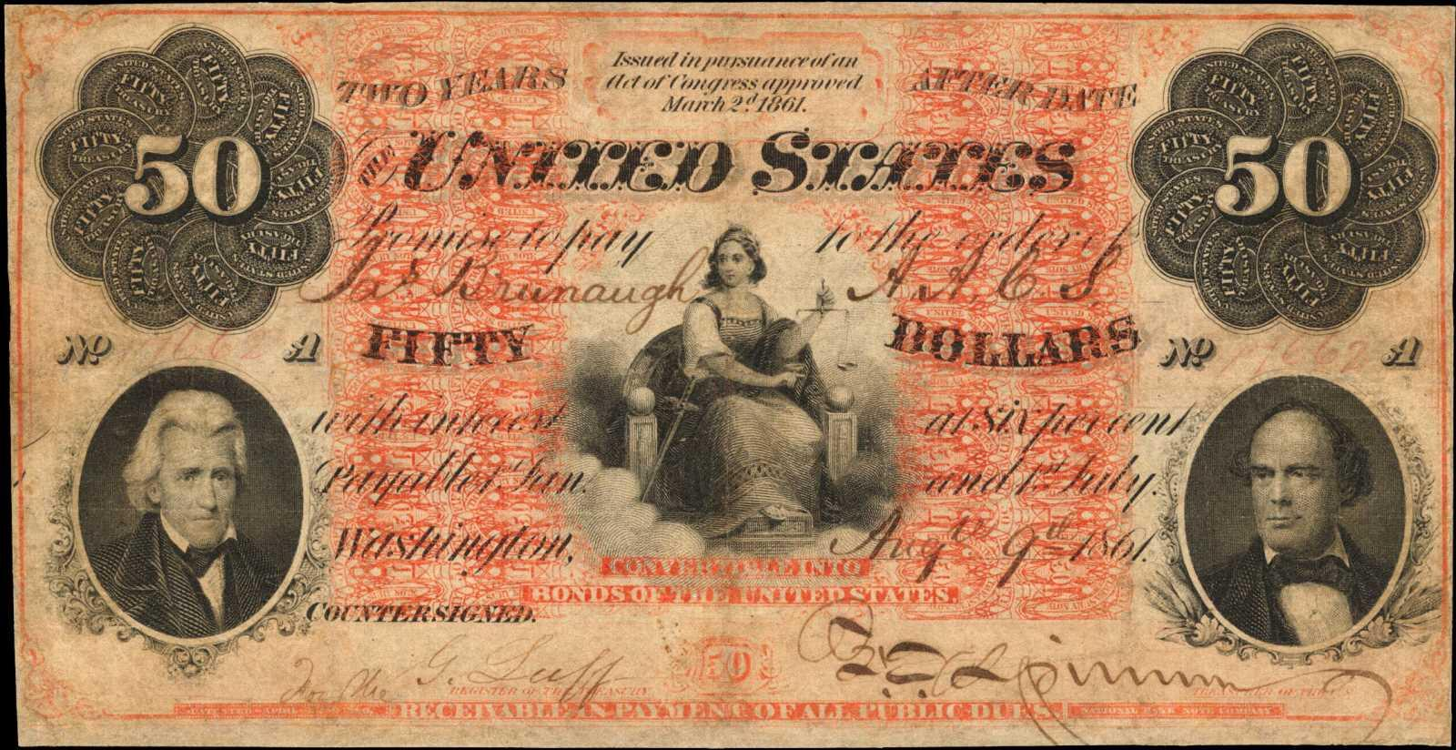 The 'Cat-daddy of U.S. paper money,' an 1861 $50 interest bearing note.