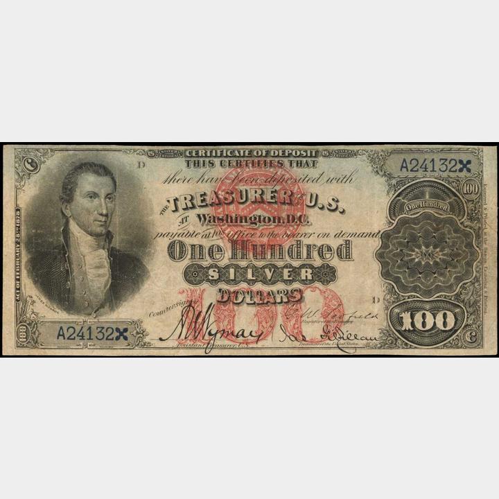 Friedberg 337b W 3616 1878 100 Silver Certificate Of Deposit