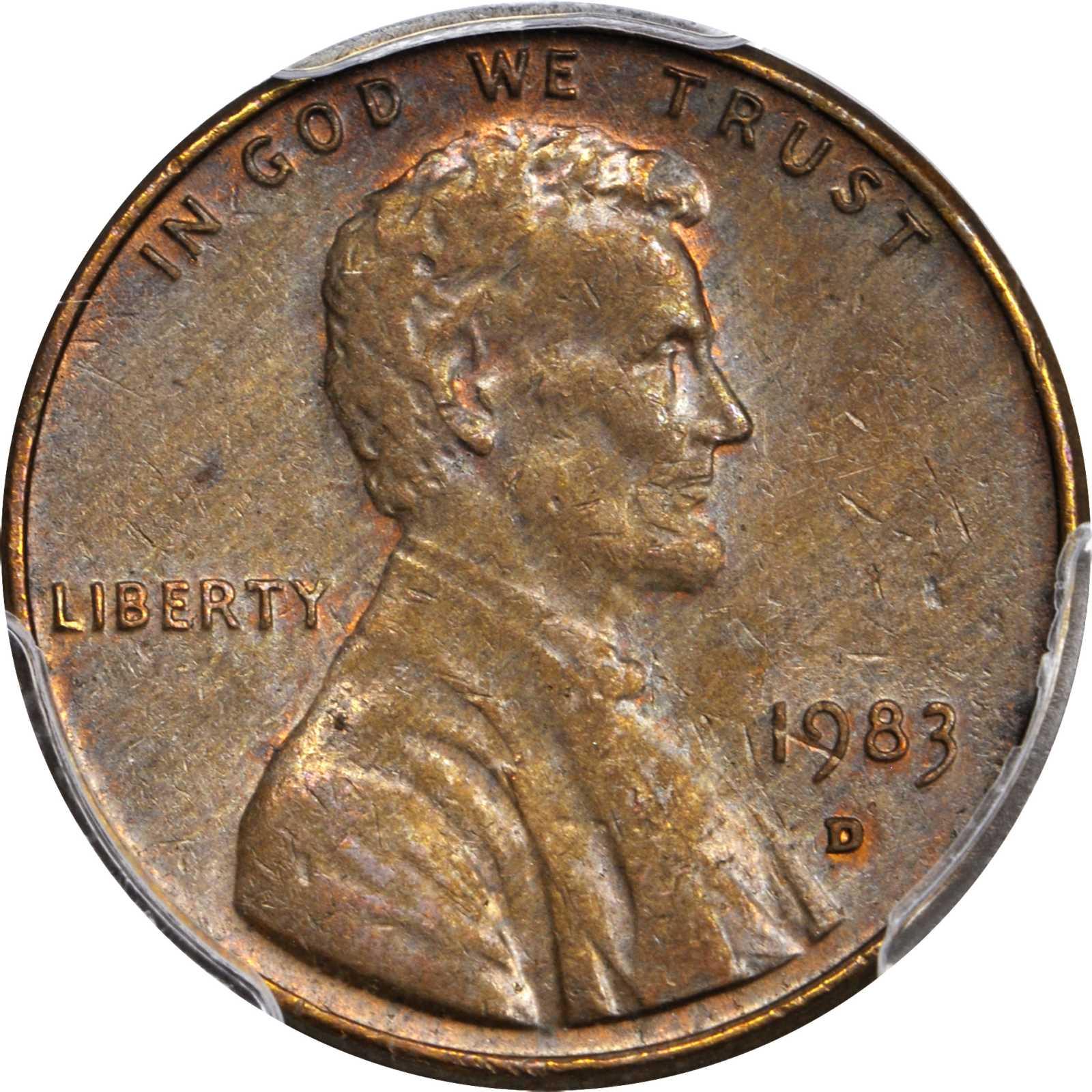 1983-D Lincoln Cent--Struck on a Bronze Planchet--AU-55