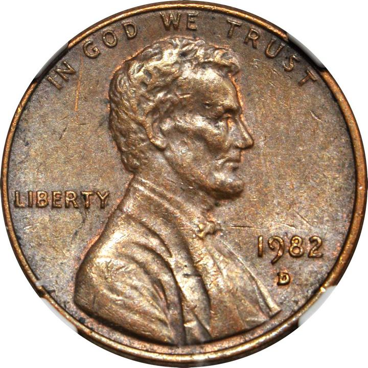 1982 d lincoln cent small date struck on a bronze planchet au 58